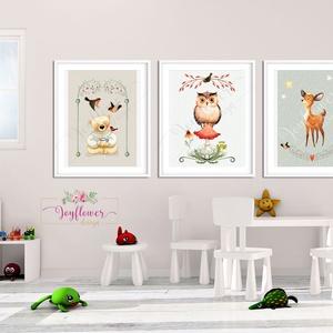 Erdei állatok szett - babaszoba dekoráció, Állatok festmény, gombák, maci, bagoly, őz, Gyerekszoba dekor, Falikép, Dekoráció, Otthon & lakás, Képzőművészet, Lakberendezés, Gyerek & játék, Fotó, grafika, rajz, illusztráció, Papírművészet, A/3-as méretű nyomtatott faliképek gyerekszoba dekoráció  \n\n3 db  nyomtatott falikép keret nélkül\n25..., Meska