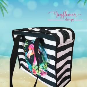 Boho Flamingo - praktikus, cipzáras, vízhatlan, egyedi strandtáska - vízfesték hatású grafikával, Táska, Válltáska, oldaltáska, Fotó, grafika, rajz, illusztráció, Varrás, Boho Flamingo - praktikus, cipzáras, vízhatlan, egyedi strandtáska - vízfesték hatású grafikával Ké..., Meska