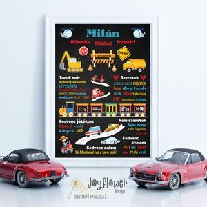 Szülinapi poszter járművekkel, munkagépekkel - kisfiús grafikával krétatábla stílusban (joyflowerdesign) - Meska.hu