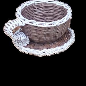 Kávéscsésze formájú kospó, Otthon & Lakás, Ház & Kert, Cserép & Kaspó, Fonás (csuhé, gyékény, stb.), Tedd az asztalra, polcra, szekrényre, és tedd bele a kedvenc kis virágodat, és kapsz egy remek díszt..., Meska