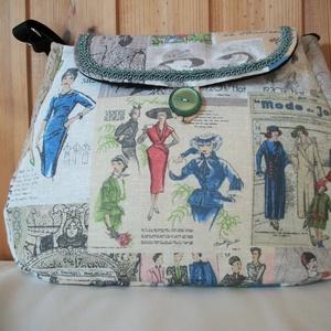 Divat - válltáska, Táska & Tok, Kézitáska & válltáska, Válltáska, Mintás vászon anyagból varrtam táskát, amit farkasfoggal díszítettem. Jól pakolható táska született...., Meska