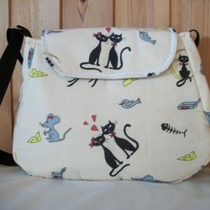 Szerelmes cicák - válltáska, Táska & Tok, Kézitáska & válltáska, Válltáska, Varrás, Meska