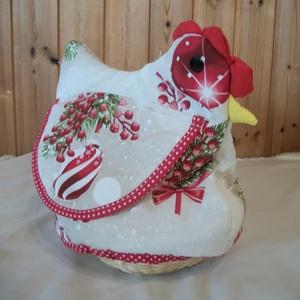 Karácsonyi  tyúkanyó , Otthon & Lakás, Dekoráció, Asztaldísz, Textilből varrt tyúkanyó felhajtható szárnyakkal, taréjjal és gombszemekkel.  A textil rész egy fo..., Meska