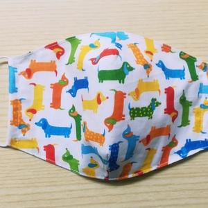 Textil arcmaszk - színes tacskók, Táska, Divat & Szépség, Szépség(ápolás), Maszk, szájmaszk, Kétrétegű, állítható gumival ellátott arcmaszk amely 100%-ban pamut alapanyagból készült Természetes..., Meska