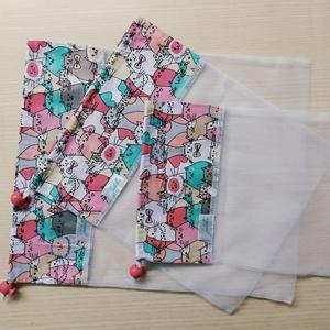 Textilzsák garnitúra - rózsaszín cicák, NoWaste, Bevásárló zsákok, zacskók , Pamutvászon és tüll kombinációjából született meg ez a textilzsák, melyet magaddal vihetsz a bevásár..., Meska