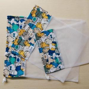 Textilzsák garnitúra - kék cicák, NoWaste, Bevásárló zsákok, zacskók , Pamutvászon és tüll kombinációjából született meg ez a textilzsák, melyet magaddal vihetsz a bevásár..., Meska