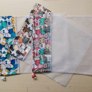 Textilzsák L méret - cicák, NoWaste, Bevásárló zsákok, zacskók , Pamutvászon és tüll kombinációjából született meg ez a textilzsák, melyet magaddal vihetsz a bevásár..., Meska