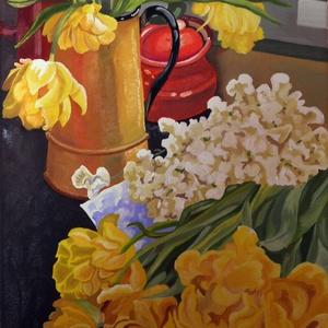 Ablaknál - olajfestmény, Olajfestmény, Festmény, Művészet, Festészet, Fotó, grafika, rajz, illusztráció, Ablaknál  - olajfestmény 30 x 40 cm-es, feszített vászonra készült festmény, virágcsendélet. \nSelyem..., Meska