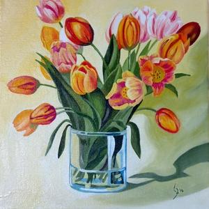 Tulipán csokor- olajfestmény, Olajfestmény, Festmény, Művészet, Festészet, Fotó, grafika, rajz, illusztráció, Tulipán csokor - olajfestmény, virágcsendélet .\nFeszített vászonra készült, 30 x 30 cm-es festmény.\n..., Meska
