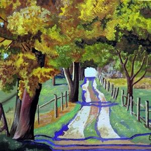 Őszi séta, Képzőművészet, Otthon & lakás, Festmény, Lakberendezés, Festészet, Fotó, grafika, rajz, illusztráció, A festmény 18 x 24 -es kasírozott vászonra készült. Lakkozott, keret nélküli kép. Könnyen keretezhet..., Meska