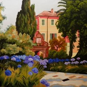 A kert, Olajfestmény, Festmény, Művészet, Festészet, A festmény olaj technikával készült.30 x 40 cm,\nfeszített vászon. Keret nélkül kapható. \nNyári délut..., Meska