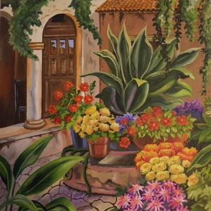 Virágos kert, Otthon & lakás, Képzőművészet, Festmény, Olajfestmény, Napi festmény, kép, Fotó, grafika, rajz, illusztráció, Festészet, A festmény 40 x 30 cm . Farost festőalapra készült . Olajfestmény, selyemfényű lakkal befejezett .\n..., Meska