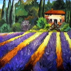 Provence, nyár, Művészet, Festmény, Olajfestmény, Festészet, A festmény 30 x 24 cm. Olajfestmény.Kasírozott vászonra készült. Nyári hangulatot áraszt.\nKeret nélk..., Meska