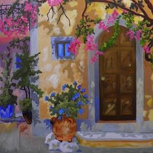 Ciprusi utca, Művészet, Festmény, Olajfestmény, Festészet, Az olajfestmény 30 x 50 cm. Fára kasírozott vászonra készült. Egy nyári nap emléke. Kellemes hangula..., Meska