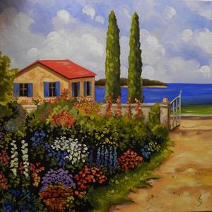 Kilátás a tengerre, Művészet, Festmény, Olajfestmény, Festészet, A festmény 40 x 40 cm. Olajfestékkel készült. Egy kis kép,amit megláttam valahol, de annyira megtets..., Meska