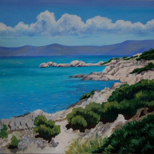 Görög tengerpart, Művészet, Festmény, Olajfestmény, Festészet, Fotó, grafika, rajz, illusztráció, A festmény 40 x 50 cm, feszített vászonra készült. A kép lakkozott és keret nélkül kínálom eladásra...., Meska