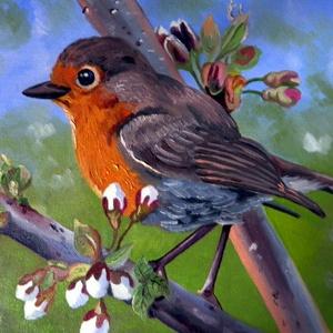 Vörösbegy, Művészet, Festmény, Olajfestmény, Festészet, Fotó, grafika, rajz, illusztráció, A festmény 24 cm x 30 cm. Feszített vászonra festettem olajfestékkel. Kedves tavaszi jelenet.\nKeret ..., Meska