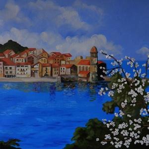 Virágzó ág a tengernél, Művészet, Festmény, Olajfestmény, Festészet, Fotó, grafika, rajz, illusztráció, A festmény 40 x 50 cm. Feszített vászonra készült. Tavaszi tájkép. Olajfestékkel festettem.\nA vakrám..., Meska