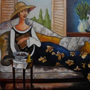 Délutáni pihenés, Művészet, Festmény, Olajfestmény, Festészet, Fotó, grafika, rajz, illusztráció, A festmény 18 x 24  cm, olajfestmény. Kasírozott vászonra készült.\nCurilova festmény alapján szabado..., Meska