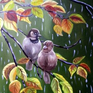 Esőben, Művészet, Festmény, Olajfestmény, Festészet, Fotó, grafika, rajz, illusztráció, Meska