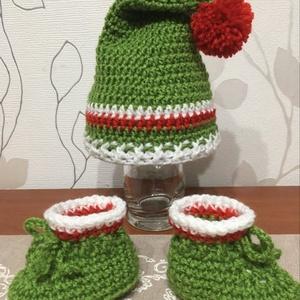 Karácsonyi szett kisfiúknak 0-3 hónapos méret, Ruha & Divat, Babaruha & Gyerekruha, Babafotózási ruha és kellék, Horgolás, Meska