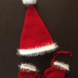 Karácsonyi szett   /Santa hat 0-3 hónapos korig, Ruha & Divat, Babaruha & Gyerekruha, Babafotózási ruha és kellék, Horgolás, Meska