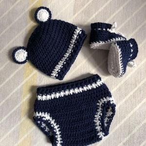 Újszülött szett babafotózáshoz 'Teddy' sötétkék-fehér - Meska.hu