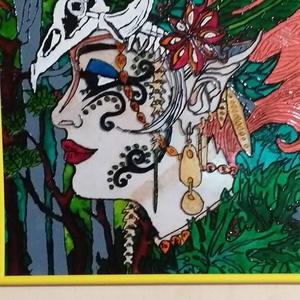 Erdő lánya , Otthon & Lakás, Dekoráció, Falra akasztható dekor, Festészet, Egy  leány aki szereti az az erdő minden teremtményét  a téma. Színes, lényeget kiemelő kép. Műanyag..., Meska