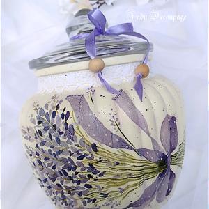 Levendulás süteményes üveg, Otthon & lakás, Konyhafelszerelés, Decoupage, transzfer és szalvétatechnika, Aprósütemények tárolására, kínálására ajánlom ezt a szép levendula mintával díszített üveg süteményt..., Meska