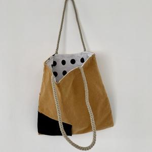 Sárga-fekete válltáska, Táska & Tok, Bevásárlás & Shopper táska, Shopper, textiltáska, szatyor, Varrás, Meska