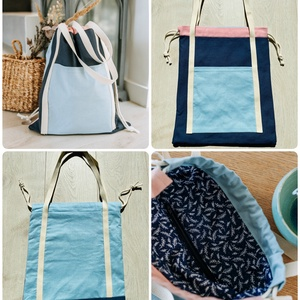Kék- rózsaszín válltáska , Táska & Tok, Bevásárlás & Shopper táska, Shopper, textiltáska, szatyor, Varrás, Táska mérete: 35x42 cm\n\nBelső cipzáras zseb mérete: 16x10 cm \nKülső zseb mérete: 22x21 cm \n\nAnyaga: ..., Meska