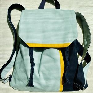 Kék-türkiz-sárga hátizsák , Táska & Tok, Hátizsák, Hátizsák, Varrás, Mérete: 36x41 cm \n\nBelső zseb mérete: 20x10 cm \n\nAnyaga: erős pamutvászon, belül világoskék puplin( ..., Meska