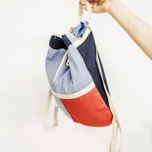 Kék-piros hátizsák, Táska & Tok, Hátizsák, Hátizsák, Varrás, Meska