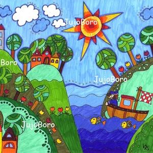 Hajóval, Gyerek & játék, Dekoráció, Otthon & lakás, Képzőművészet, Festészet, Fotó, grafika, rajz, illusztráció, Vidám, színes kép, filccel, lakkfilccel készítve. Saját, eredeti rajz.\n\nMérete: 21 x 29 cm, Meska
