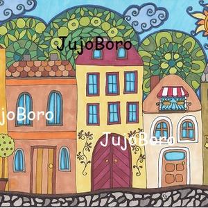Vidám utca, Gyerek & játék, Dekoráció, Otthon & lakás, Képzőművészet, Festett tárgyak, Fotó, grafika, rajz, illusztráció, Filccel készült ez a rajz rajzkartonra egy vidám utcáról.\n\nMéret: 21 x 30 cm, Meska