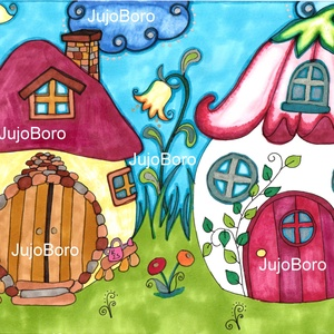 Manóházacskák, Gyerek & játék, Otthon & lakás, Képzőművészet, Festett tárgyak, Fotó, grafika, rajz, illusztráció, Manóházakat rajzoltam le rajzkartonra, majd filccel, lakkfilccel színeztem.\n\nMéret: 21 x 30 cm, Meska