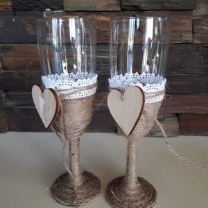 Pezsgőspohár esküvőre az ifjú párnak vintage stílusban, Esküvő, Esküvői dekoráció, Szerelmeseknek, Ünnepi dekoráció, Dekoráció, Otthon & lakás, Nászajándék, Mindenmás, Vintage stílusban, kenderzsineggel és csipkével díszítettem a pezsgős poharakat. \nA menyasszony és v..., Meska