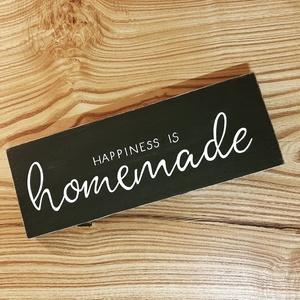 Happiness is homemade fa dekor, Otthon & Lakás, Táblakép, Dekoráció, Festett tárgyak, Meska