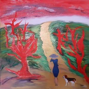 Séta a szélben , Művészet, Festmény, Festmény vegyes technika, Festészet, 50x50cm, temperával készült  vászon festmény. Egy képzeletbeli tájat ábrázol, az arany út bárhová ve..., Meska