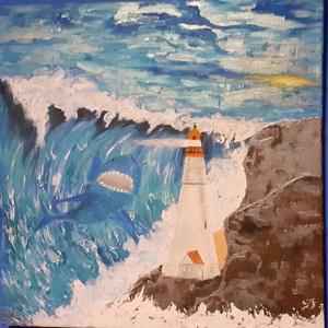 Világítótorony , Művészet, Festmény, Festmény vegyes technika, Festészet, 50x50cm, temperával készült vászon festmény. A háborgó tengert ábrázolja. A képzeletre bízza azt,hog..., Meska