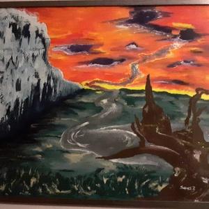 Szellemkastély , Művészet, Festmény, Festmény vegyes technika, Festészet, 50x70cm temperával készült vászon festmény, ezüst színű keretben. Képzeletbeli tájat ábrázol, ezüst ..., Meska