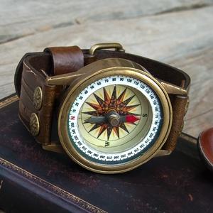 Antik bronz iránytű karóra, Iránytű ékszer a természet szerelmeseinek!, Női iránytű órakarkötő, Indiai iránytű-óra (jullyet) - Meska.hu