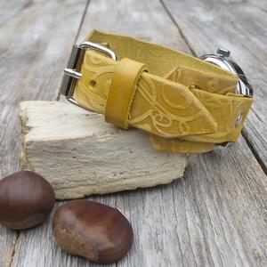 Női karóra, Olasz marhabőr karóra, Sárga, indamintás karóra (jullyet) - Meska.hu