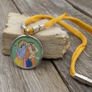 Indiai nyaklánc, Rajastani nyaklánc, Radha Krishna nyaklánc, Női amulett nyaklánc,  (jullyet) - Meska.hu
