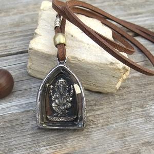 Férfi/Női bivalybőr Ganesha nyaklánc, Indiai nyaklánc, Amulett nyaklánc, Hindu nyaklánc (jullyet) - Meska.hu