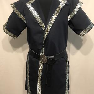 Kaftán kék-arany középen záródó fazon, Ruha & Divat, Férfi ruha, Sötétkék vastag vászonból, kék-arany szalagokkal díszítve. A szalag mintája eltérhet a fotón levőtől..., Meska