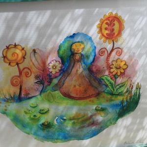 Halastavam, Otthon & lakás, Dekoráció, Kép, Festészet, Mindenmás, Aquarell képről készített nyomat. (2/30)\nKreatív papírra nyomtatva.\nMérete:20x30cm. \nKeretezett...., Meska