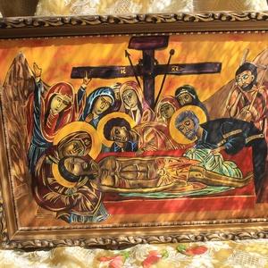 Jézus sírbatétele, Otthon & lakás, Képzőművészet, Festmény, Festmény vegyes technika, Vegyes technika, Festészet, Fára festett táblakép.\n\nGetszemáni éj\n\ns látá holtát\nvérrel verítékezett\nGetszemáni éjben, egyedül\n\n..., Meska