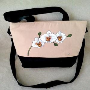 """Kézzel festett \"""" Orchideás\"""" nagy táska, Táska & Tok, Kézitáska & válltáska, Nagy pakolós táska, Festészet, Varrás, \nIgazán jól pakolható \""""Orchideás\"""" nagy táska. Válogatott alapanyagokból, beavatás után ( NEM MEGY ÖS..., Meska"""