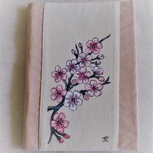 """Kézzel festett \"""" cseresznyevirág \"""" füzet, Otthon & Lakás, Konyhafelszerelés, Receptfüzet, Festett tárgyak, Varrás, Saját tervezésű, készítésű, szabad kézzel festett füzetborító füzettel.\nVálogatott alapanyagokból, b..., Meska"""